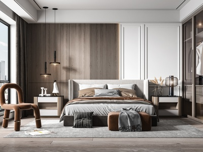 現代臥室 雙人床 床頭柜 衣柜 凳子 吊燈