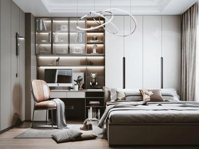 现代榻榻米卧室 书柜 装饰品 摆件 电脑椅 书籍 吊灯
