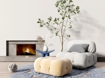 现代懒人沙发 壁炉 植物 边几 地毯