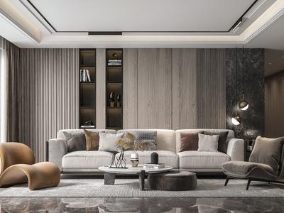 现代客厅 沙发 茶几 休闲椅 装饰画 落地灯 地毯