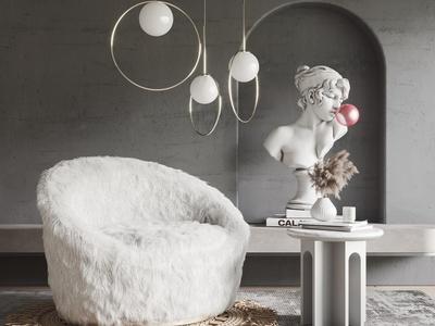现代单人沙发 懒人沙发 边几 吊灯 饰品摆件 雕塑 地毯
