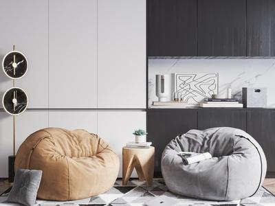 北歐懶人沙發組合 落地燈 邊幾 飾品擺件 地毯
