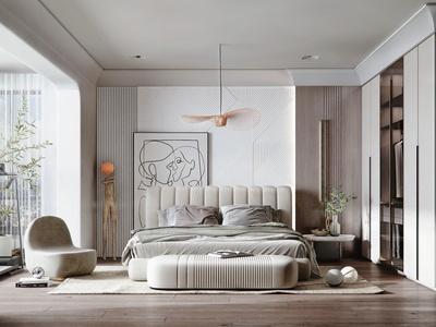 现代卧室 双人床 沙发凳 衣柜 装饰品 床头背景 吊灯 绿植 跑步机