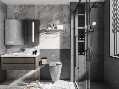 现代卫生间 厕所 浴室柜 玻璃隔断 洗手台 镜子 水龙头 马桶