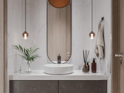 现代洗手台 小吊灯 镜子 卫生用品