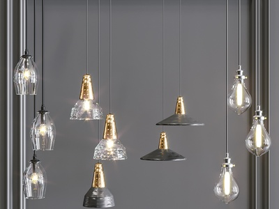 现代吊灯组合 玻璃吊灯