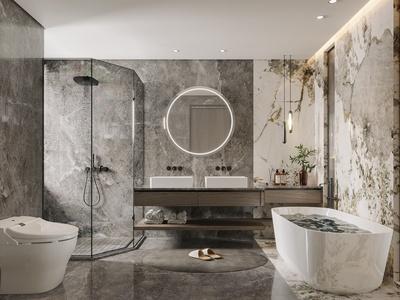 现代卫生间 浴缸 吊灯