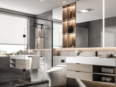 现代卫生间 浴室柜 马桶 隔断 五金件