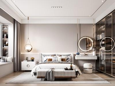 现代卧室 双人床 床头柜 台灯 墙饰 床尾凳 衣柜