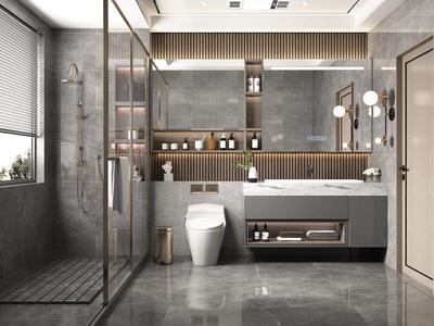 现代卫生间 卫浴柜 洗手台 洗簌台 淋浴柜 卫浴组合