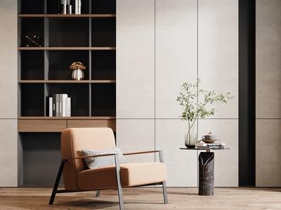 现代休闲椅 角几组合 装饰柜 花瓶 饰品摆件