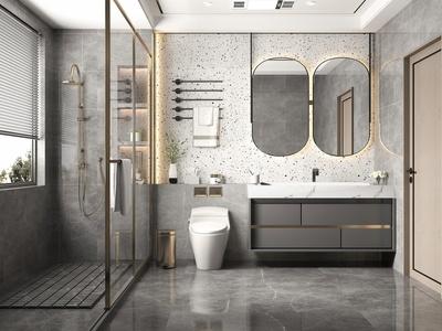 现代卫生间 卫浴柜 洗手台 淋浴柜 卫浴组合