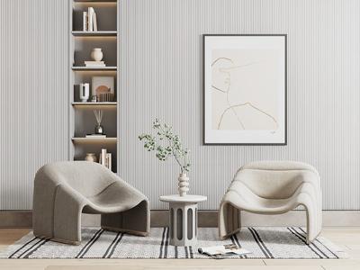 現代休閑椅 單人沙發 植物 花瓶