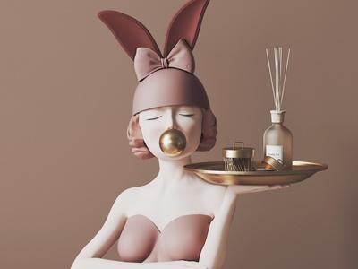 现代装饰摆件 盘子 女孩 雕塑
