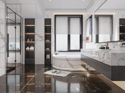 现代卫生间 浴室 卫生用品 洗手台 浴缸