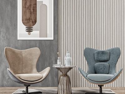 现代休闲椅 边几组合 装饰画
