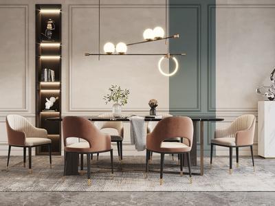 现代餐厅 餐桌椅组合 吊灯 饰品摆件组合
