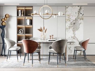 現代餐廳 餐桌椅 雕塑 擺件 吊燈