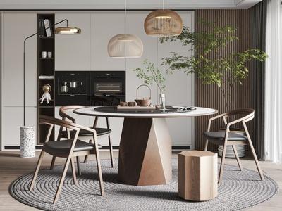 新中式餐廳 餐桌椅 吊燈 飾品擺件 盆栽 落地燈 凳子