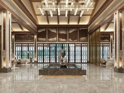 新中式酒店 施工图 效果图