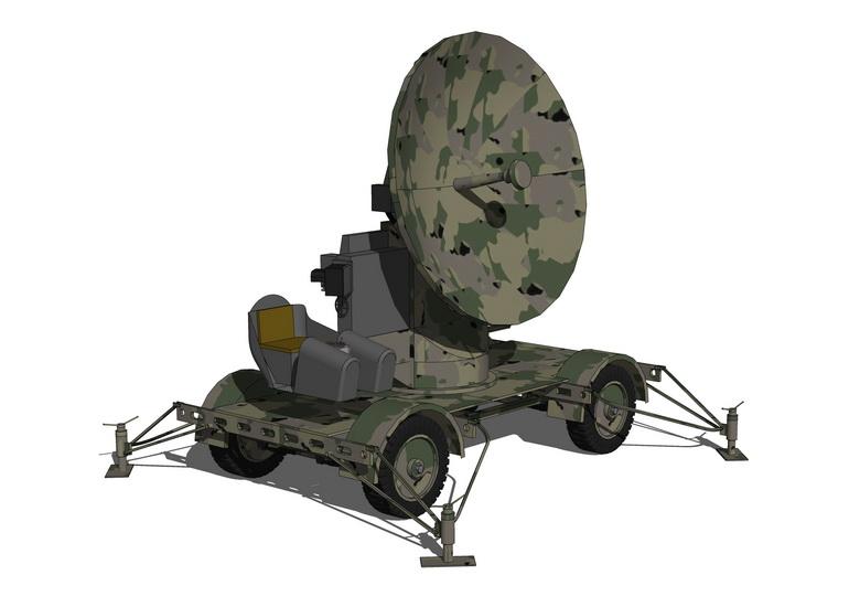 移动雷达设备车SU模型