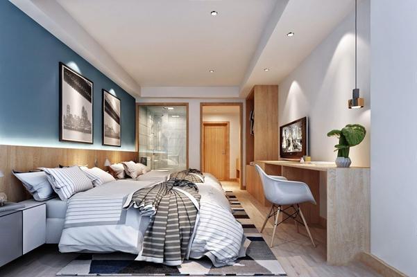 北欧酒店标间 北欧客房 双人床 椅子 金属吊灯 挂画 床品 床头柜 地毯