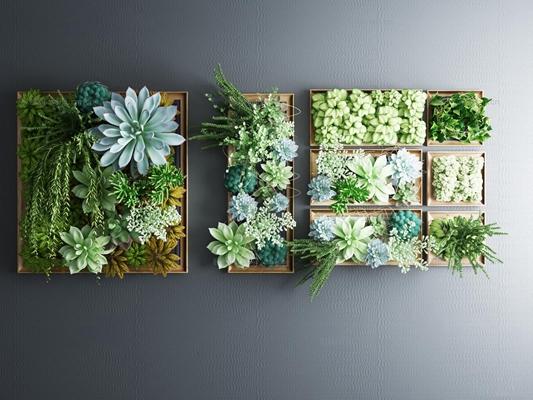 现代植物背景墙饰3D模型