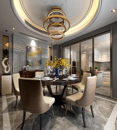 后现代轻奢客厅餐厅3D模型
