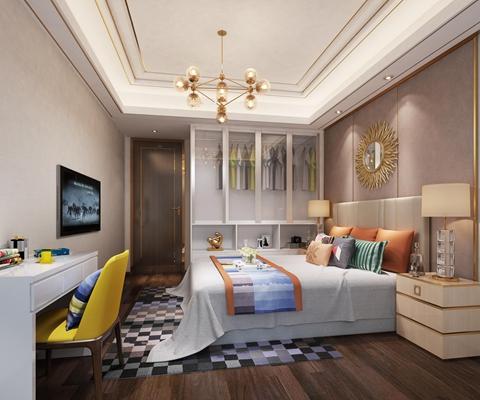 现代卧室空间3D模型【ID:16878338】