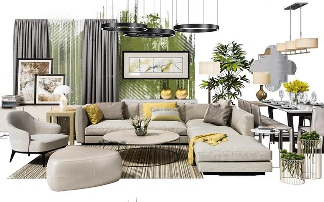 現代沙發休閑椅餐桌椅吊燈電視柜軟裝配飾組合3D模型