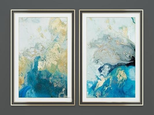 现代抽象蓝色海洋装饰画组合3D模型