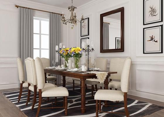 美式餐廳餐桌椅3D模型