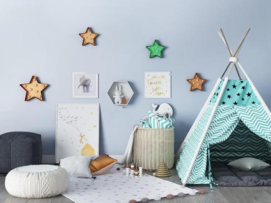 北欧儿童房帐篷玩具卧室3D模型