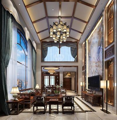 新中式别墅客厅餐厅3D模型