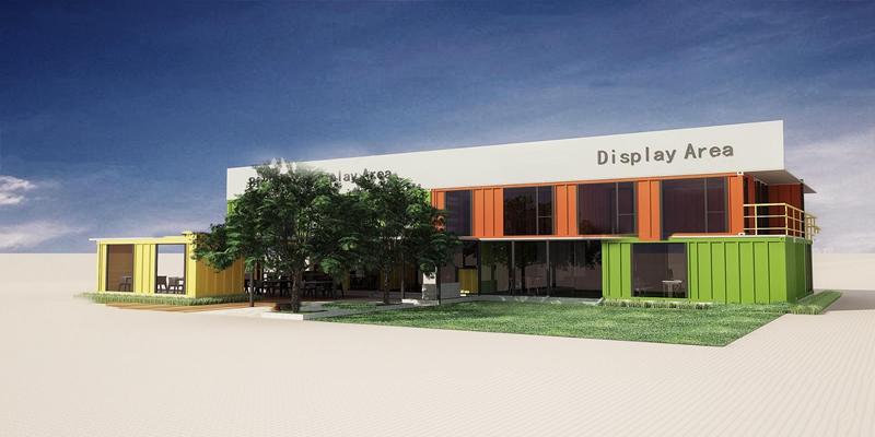 现代集装箱餐厅建筑外观3D模型