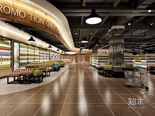 超市红酒区 超市 货架 展柜 吊灯 购物车