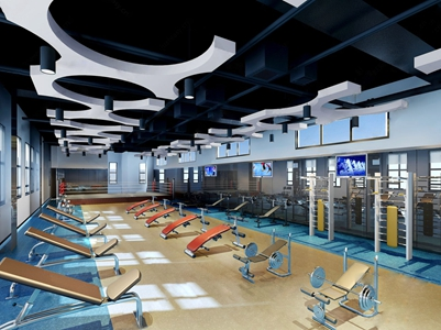 现代健身房 现代健身房 健身器材 电视机 筒灯 异形吊灯