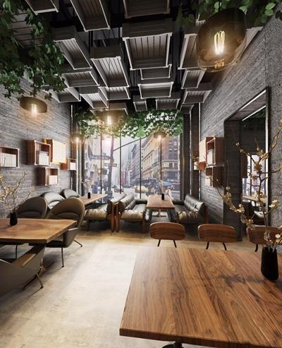 工业风栖木咖啡厅 工业风咖啡厅 休闲场所 餐饮 多人沙发 桌子 吊灯 单椅 单人沙发 墙饰 铁艺装饰架