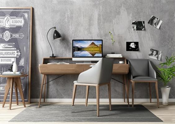 北欧实木书桌椅显示器台灯装饰画盆栽摆件3D模型