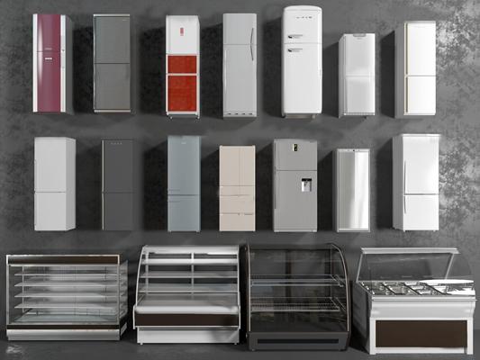 现代单开门冰箱冰柜组合3D模型