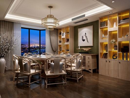 新中式厅端景柜博古架3D模型