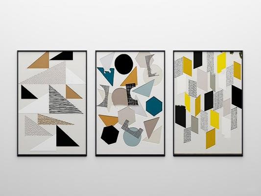 北欧抽象几何装饰画3D模型