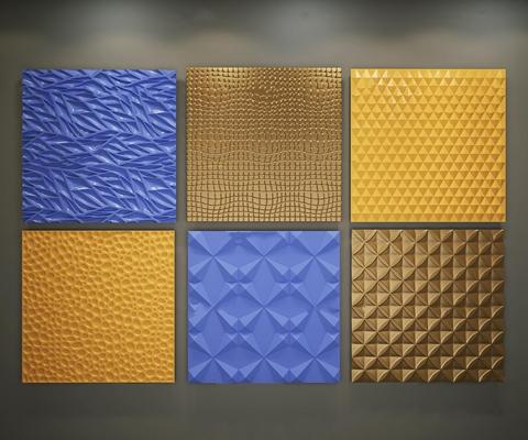 现代波浪板造型墙面板组合3D模型
