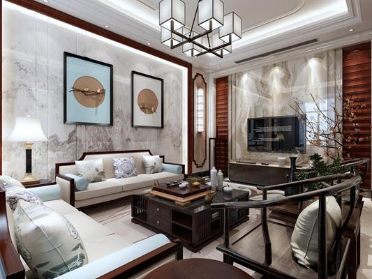 新中式多人沙发茶几吊灯装饰画3D模型