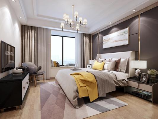 现代卧室主人房3D模型