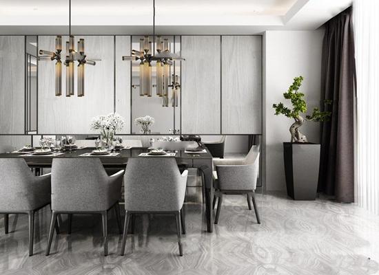 现代高级灰餐厅吊灯组合3D模型