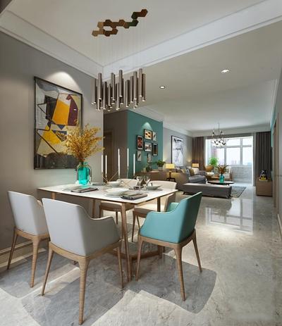 现代简约餐厅客厅空间3D模型