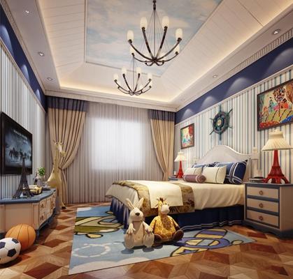 地中海儿童房卧室3D模型