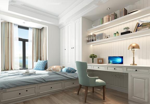 简欧书房休息室3D模型