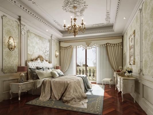 法式卧室主人房3D模型